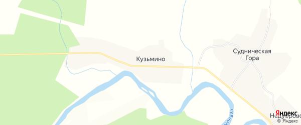 Карта деревни Кузьмино в Вологодской области с улицами и номерами домов