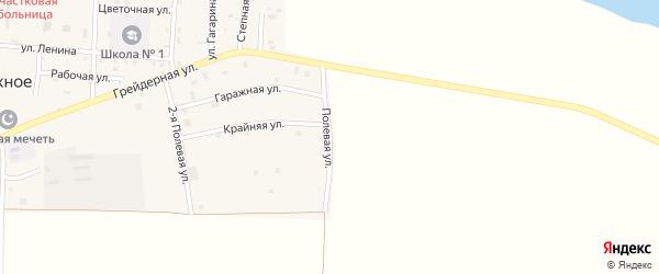 Полевая улица на карте Правобережного села Чечни с номерами домов