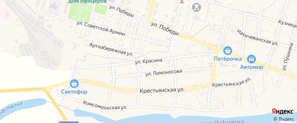 Улица 1-я Красина на карте села Капустина Яра Астраханской области с номерами домов