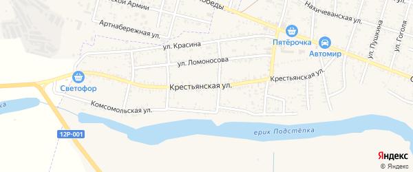 Крестьянская улица на карте села Капустина Яра Астраханской области с номерами домов