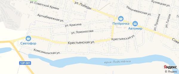Минская улица на карте села Капустина Яра Астраханской области с номерами домов
