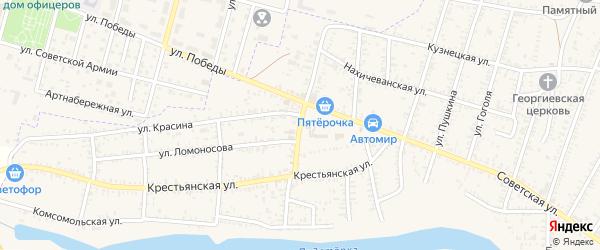Рыночная улица на карте села Капустина Яра Астраханской области с номерами домов
