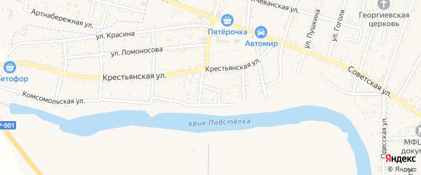 Улица Жлобина на карте села Капустина Яра Астраханской области с номерами домов