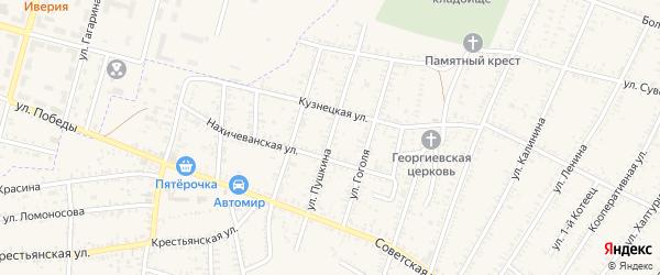 Улица Пушкина на карте села Капустина Яра Астраханской области с номерами домов