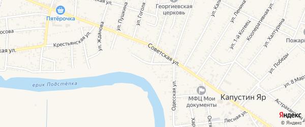 Набережная улица на карте села Капустина Яра Астраханской области с номерами домов