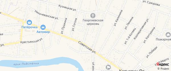 Ростовская улица на карте села Капустина Яра Астраханской области с номерами домов