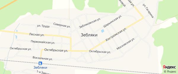 Карта поселка Зебляки в Костромской области с улицами и номерами домов