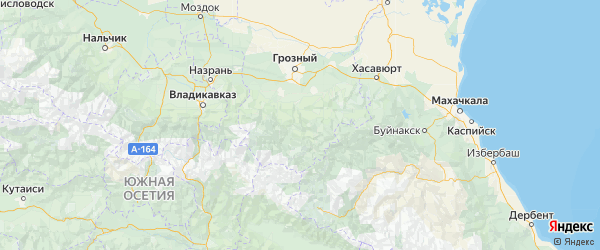 Карта Шатойского района Республики Чечни с городами и населенными пунктами