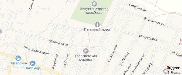 Железнодорожная улица на карте села Капустина Яра Астраханской области с номерами домов