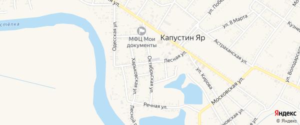 Октябрьская улица на карте села Капустина Яра Астраханской области с номерами домов