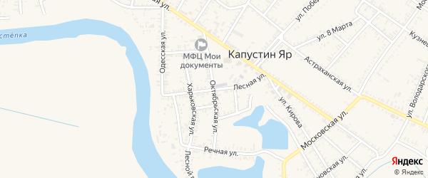 Лесная улица на карте села Капустина Яра Астраханской области с номерами домов