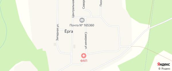 Северная улица на карте поселка Ерги Архангельской области с номерами домов