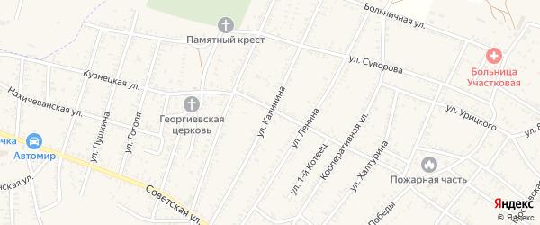 Улица Калинина на карте села Капустина Яра Астраханской области с номерами домов