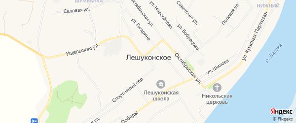 Карта Лешуконского села в Архангельской области с улицами и номерами домов