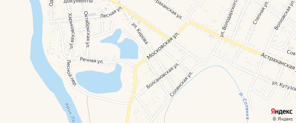 1-я Озерская улица на карте села Капустина Яра Астраханской области с номерами домов