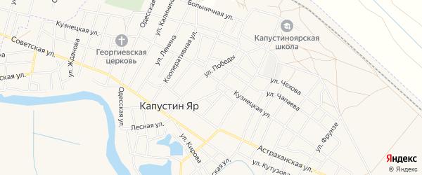 Садовое товарищество СК Флора на карте села Капустина Яра Астраханской области с номерами домов