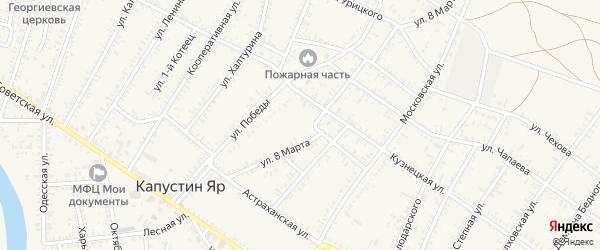 Улица 2-й Котец на карте села Капустина Яра Астраханской области с номерами домов