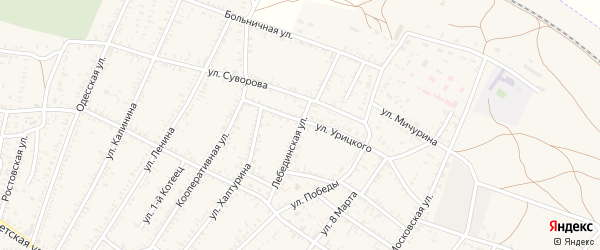 Лебединская улица на карте села Капустина Яра Астраханской области с номерами домов
