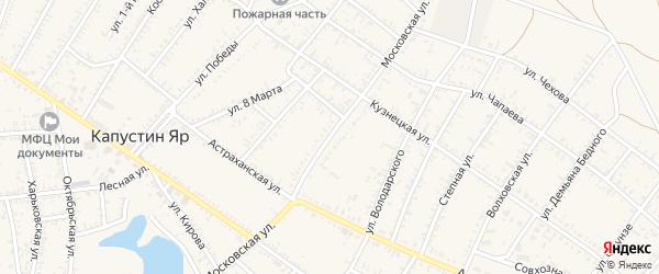 Московская улица на карте села Капустина Яра Астраханской области с номерами домов