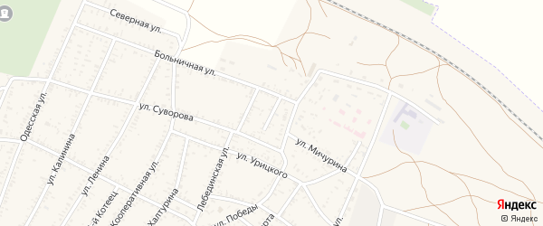 Больничный переулок на карте села Капустина Яра Астраханской области с номерами домов