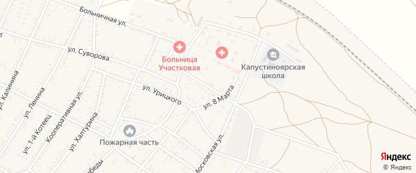Улица Мичурина на карте села Капустина Яра Астраханской области с номерами домов