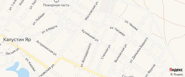 Улица Володарского на карте села Капустина Яра Астраханской области с номерами домов