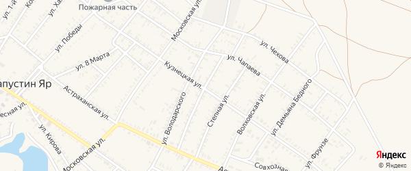 Улица М.Горького на карте села Капустина Яра Астраханской области с номерами домов