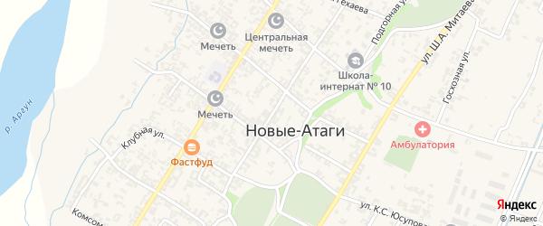 Продольная улица на карте села Новые-Атаги Чечни с номерами домов