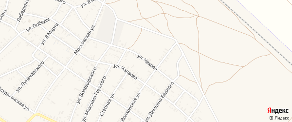 Улица Чехова на карте села Капустина Яра Астраханской области с номерами домов