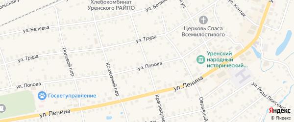 Красноармейский переулок на карте Урени с номерами домов