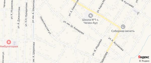 Западный 1-й переулок на карте села Чечен-Аул с номерами домов