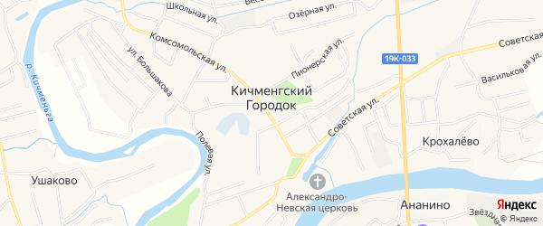 Карта села Кичменгский Городка в Вологодской области с улицами и номерами домов