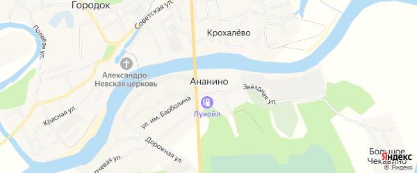 Карта деревни Ананино в Вологодской области с улицами и номерами домов