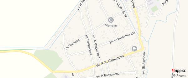 Улица А.Шаипова на карте Комсомольского села с номерами домов