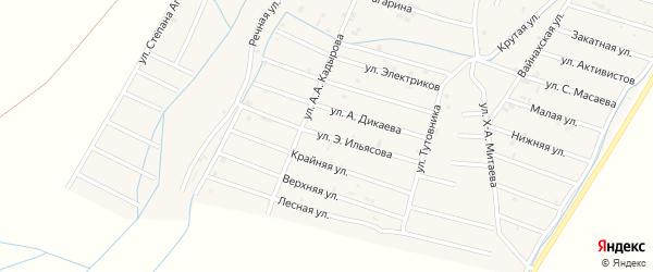 Улица Э.Ильясова на карте села Белгатой Чечни с номерами домов
