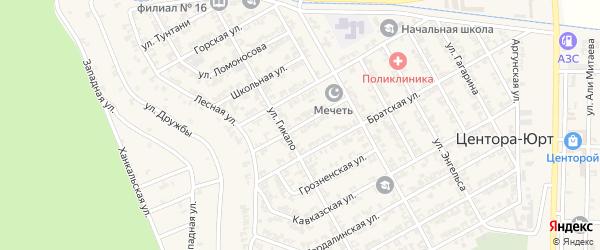 Майская улица на карте села Центора-Юрт Чечни с номерами домов