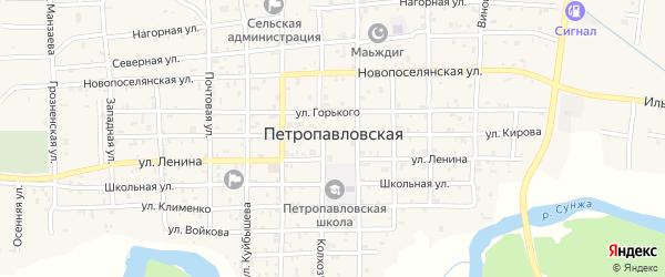 Солнечная 1-я улица на карте Петропавловской станицы с номерами домов
