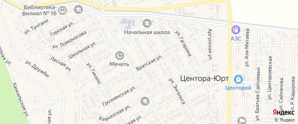 Братская улица на карте села Центора-Юрт Чечни с номерами домов