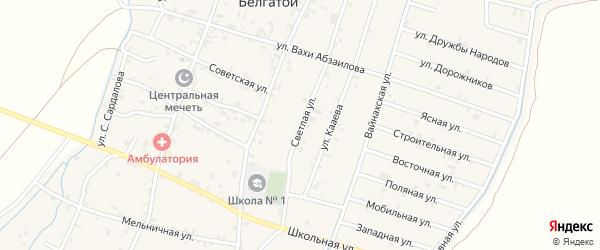 Светлая улица на карте села Белгатой Чечни с номерами домов