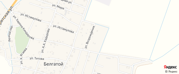 Улица Возрождения на карте села Белгатой Чечни с номерами домов