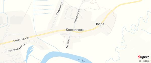 Карта деревни Княжигоры в Вологодской области с улицами и номерами домов