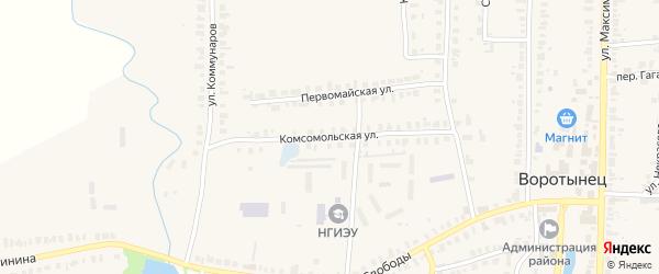 Комсомольская улица на карте поселка Воротынца Нижегородской области с номерами домов
