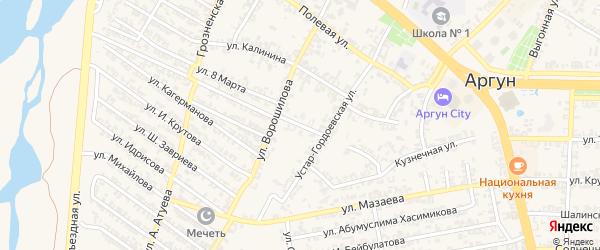Устар-Гордоевский переулок на карте Аргуна с номерами домов