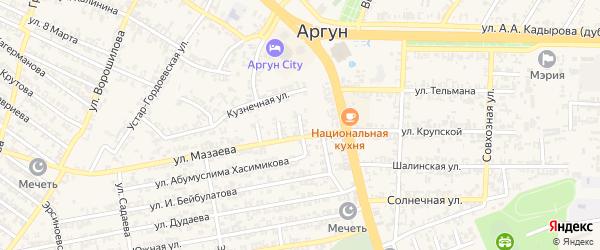 Переулок 1-й Х.Исаева на карте Аргуна с номерами домов