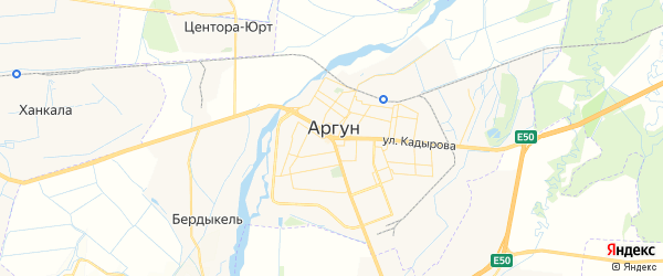 Карта Аргуна с районами, улицами и номерами домов