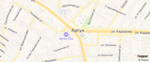 Переулок М.Юсупова на карте Аргуна с номерами домов