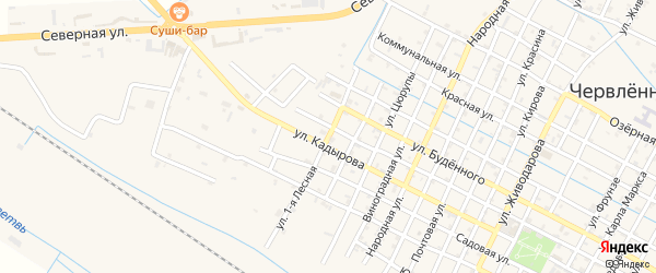 Лесной переулок на карте Червленной станицы Чечни с номерами домов