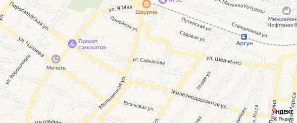 Улица В.Сайханова на карте Аргуна с номерами домов