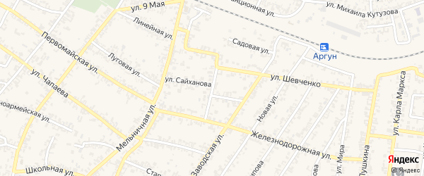 Железнодорожный переулок на карте Аргуна с номерами домов