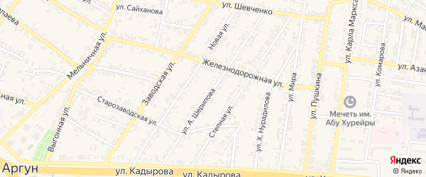 Улица А.Казбеги на карте Аргуна с номерами домов
